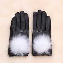 Winter Fur Leather Gloves For Lady Genuine Suede White Fox Fur Pompom Back