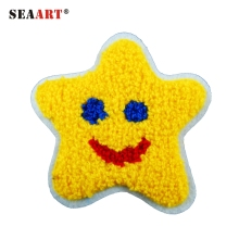 Smiling Yellow Star Heat Seal Chenille Embroidery Patches