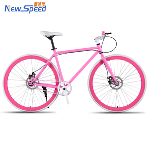 Most Popular Fixed Gear Bicycle Fixie Racer Saddle for Men and Lady Color 700cc Wheels Flip Flop Hub Pink/Pink