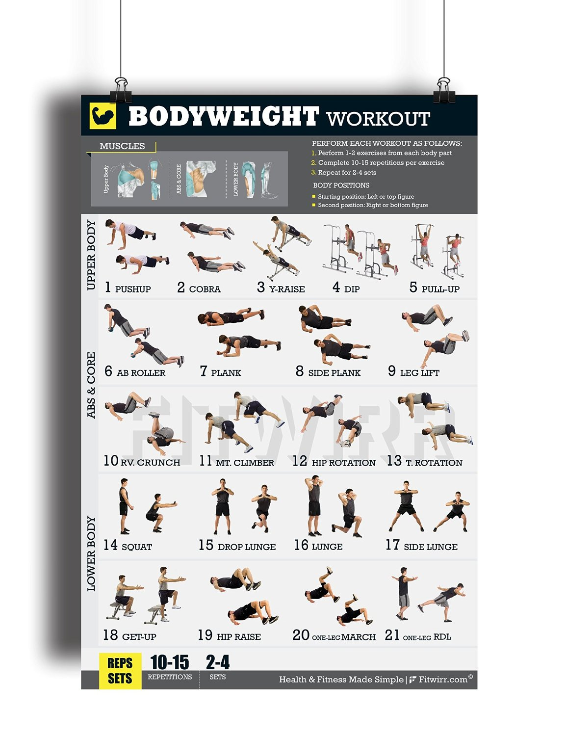 b170e38aa64 Buy Bodyweight Workout Exercise Poster NOW Laminated - Gain Strength ...