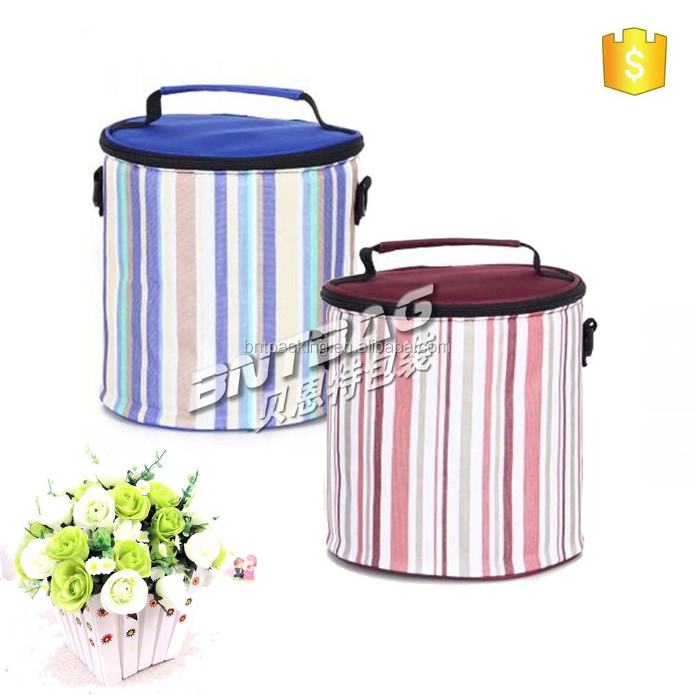 Large cylindrical Insulated Lunch Tote Bag Cooler Box