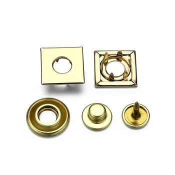 Custom Four Part Printed Gold Square Metal Prong Snap Button For Clothing