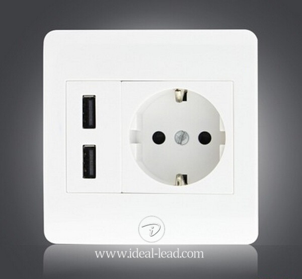 5V 2.1A EU Wall Socket with USB Port and switch 1 -71