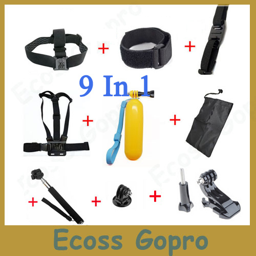 GoPro Accessories Set Gopro Remote Wrist Strap+Helmet Extention Kits