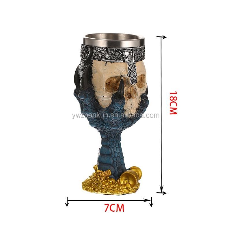 In Acciaio Inox Coppa 3D Del Cranio Scheletro Artiglio Bicchieri di Vino