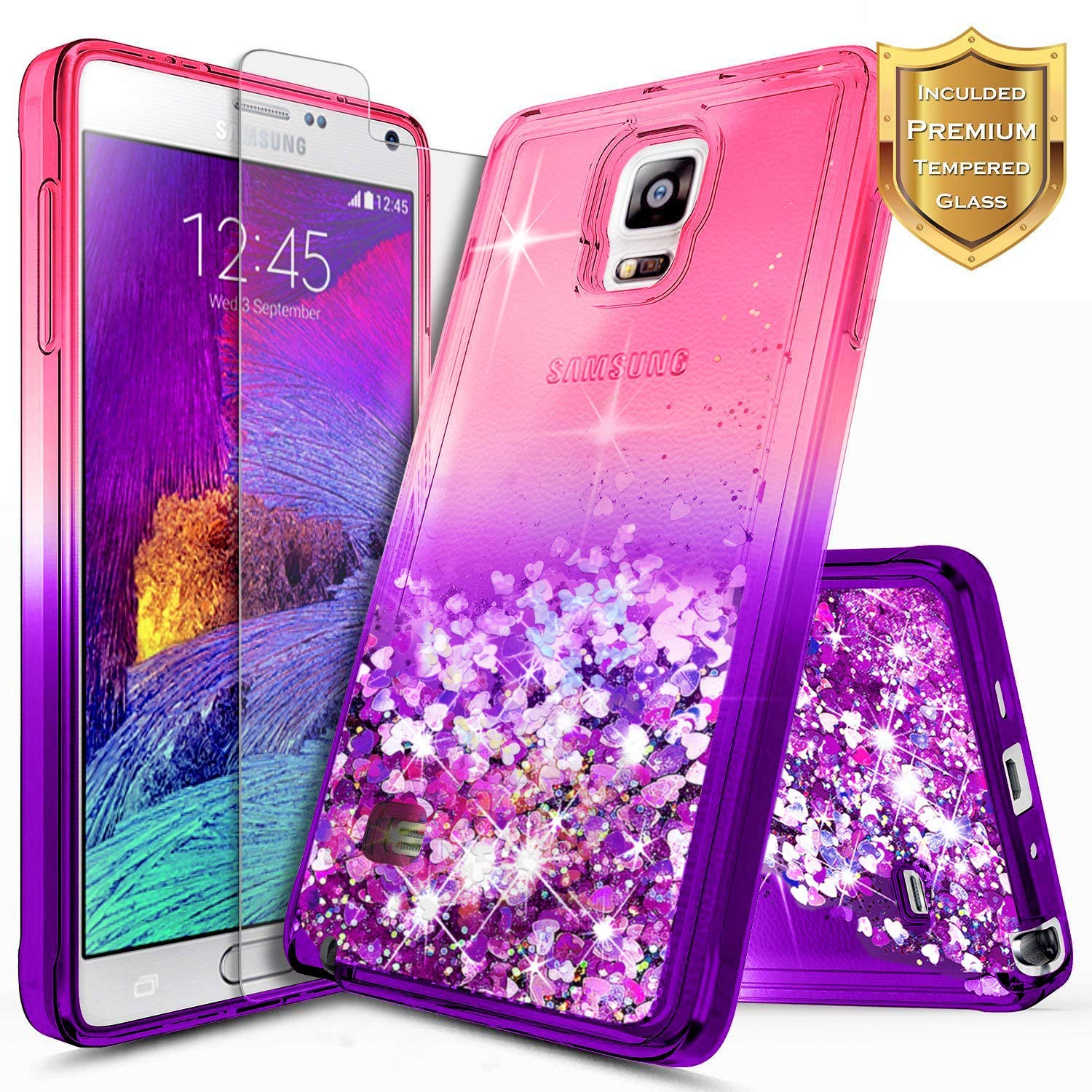 Galaxy Note 4 Case w/[Tempered Glass Screen Protector], NageBee Glitter Liquid Quicksand Waterfall Floating Flowing Sparkle Shiny Bling Girls Cute Case for Samsung Galaxy Note 4 -Pink/Purple
