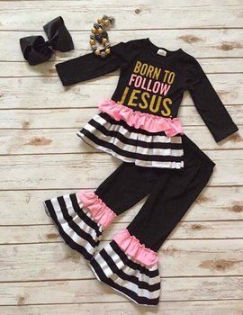 baby girls fall clothing girls BORN TO FOLLOW JESUS OUTFITS long sleeve  with ruffle pant girl 92ba1bf1aab3