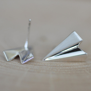 New Model Sterling Silver Origami Paper Airplane Earrings Statement Jewelry Folded
