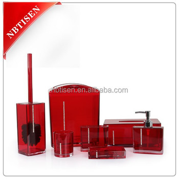 Acrylic/Plastic Crystal Bathroom Accessories Set (TS8002)