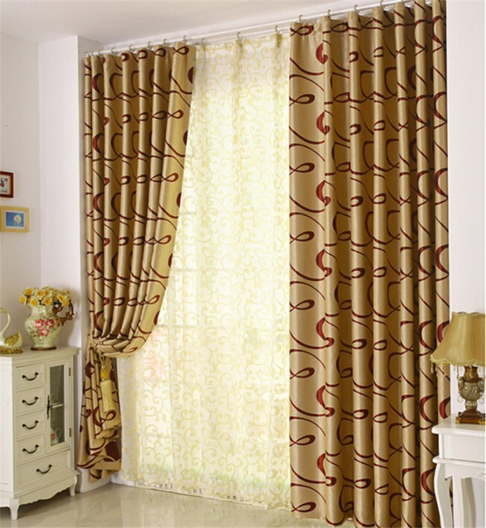 100% polyester luxury bedroom fashion european style curtain design