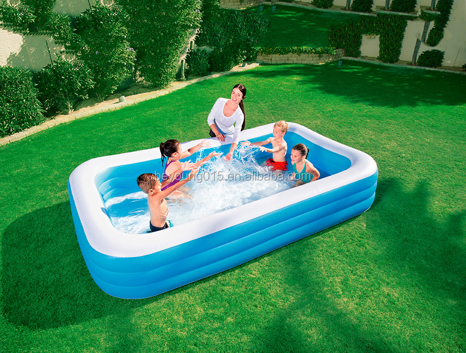 deluxe blue inflatable rectangular family swimming pool ,3 ring