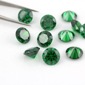 Hot sale charming synthetic round green cz for jewelry making