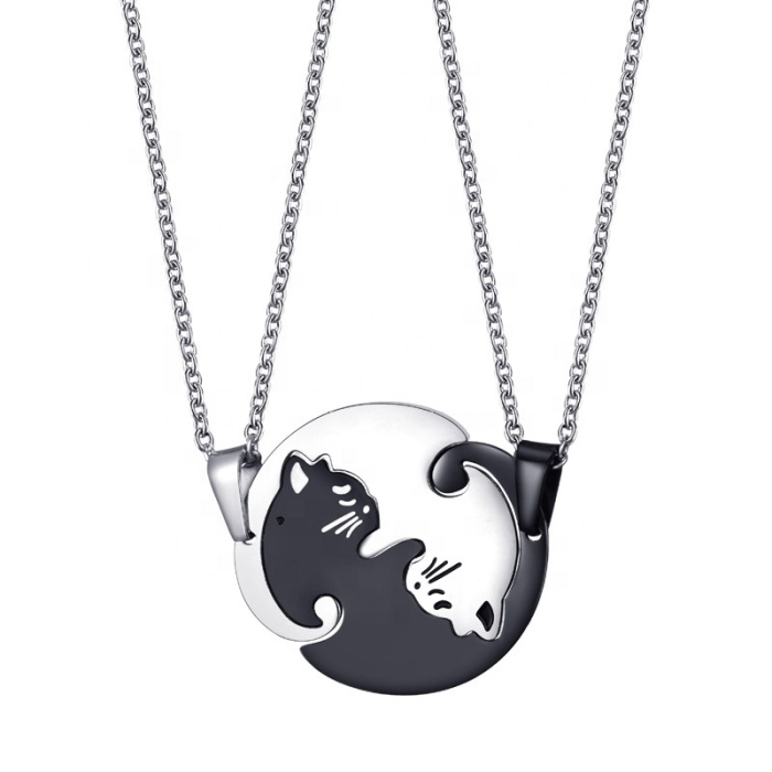 New arrival cat shape fashion design silver 및 black stainless steel 몇 cat necklace 대 한 men women jewelry 도매