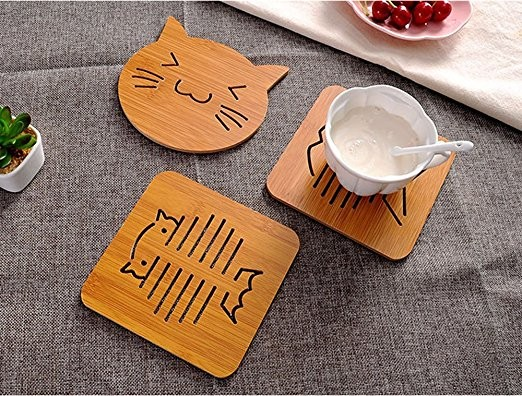 bamboo insulation coaster wood holder cup pot pad