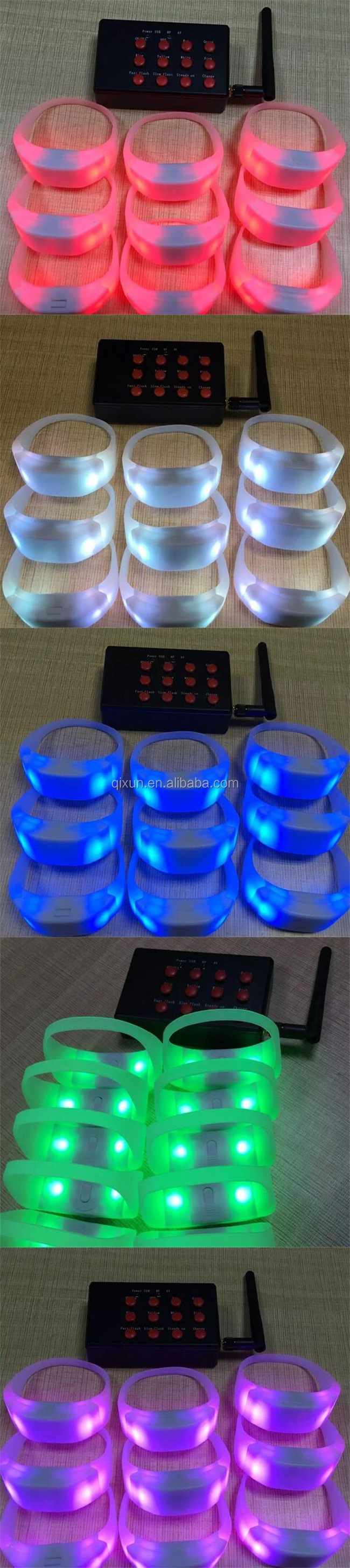 Paypal accept New event & party multicolor remote controlled led flashing bracelet