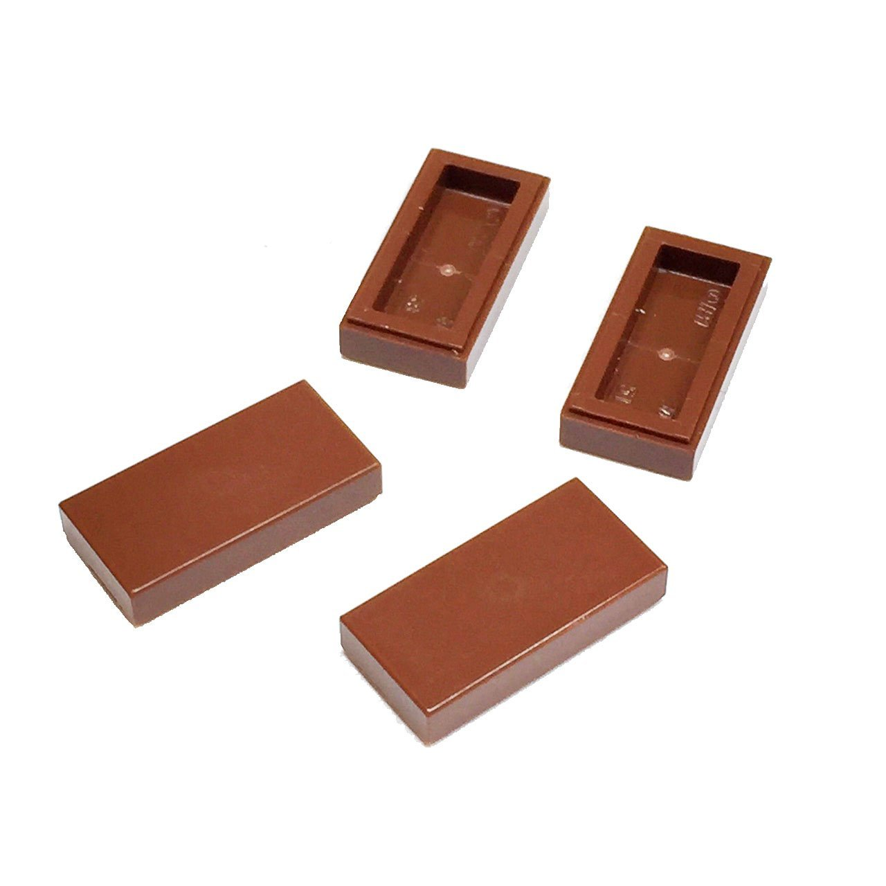 Lego Parts: Tile 1 x 2 with Groove (Service Pack of 4 - Reddish Brown)
