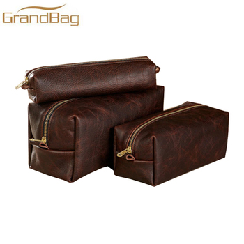 Whiskey vintage genuine leather cosmetic bags toiletry bag travel shaving  dopp kit case high quality message e36b5c054ef07