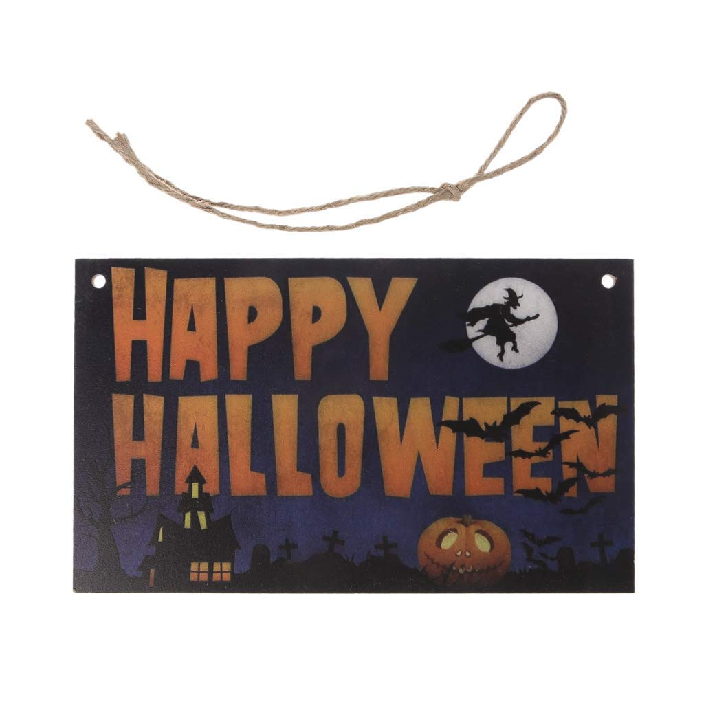 EA-Stone Thanksgiving Decorations,Happy Halloween Wooden Fall Hanging Plaque Board Wall Sign Door Home Decoration