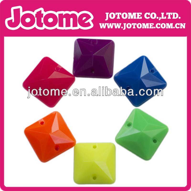 square shape fluorescent Neon colors Acrylic rhinestone with two holes flat back