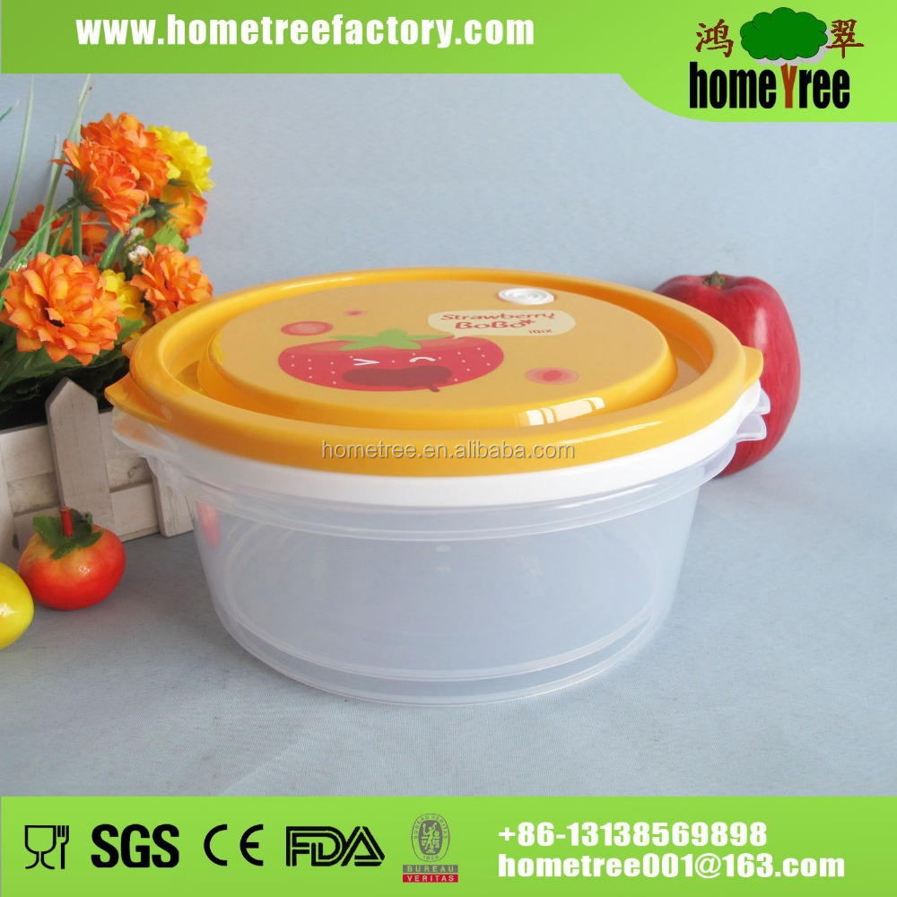 Newest! Round Slim Microwave Plastic Food Storage Container Clear Plastic Box With Handle