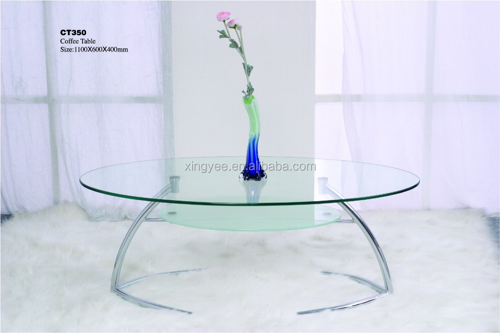 Modern Living Room Home Centre Furniture Tempered Glass Coffee Tables  Chromed Steel Oval Shape Coffee Table