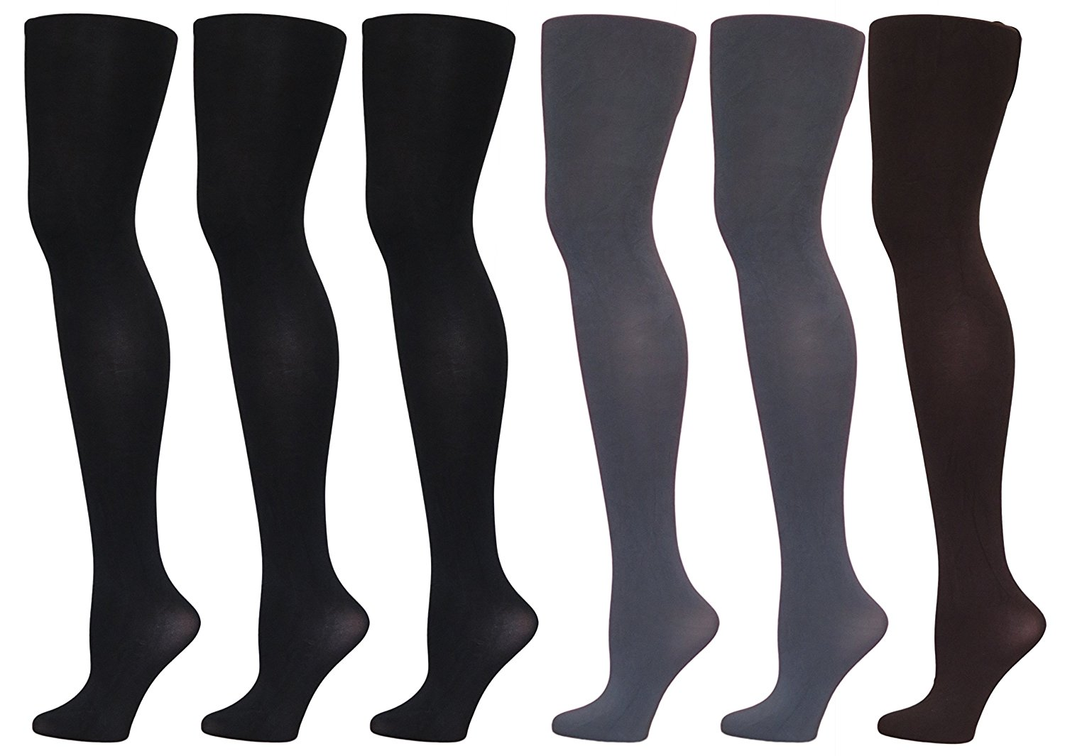 43fd52f622741 Get Quotations · Aura Borealis Womens Ultrasoft Opaque Silky Microfiber  Footed Tights