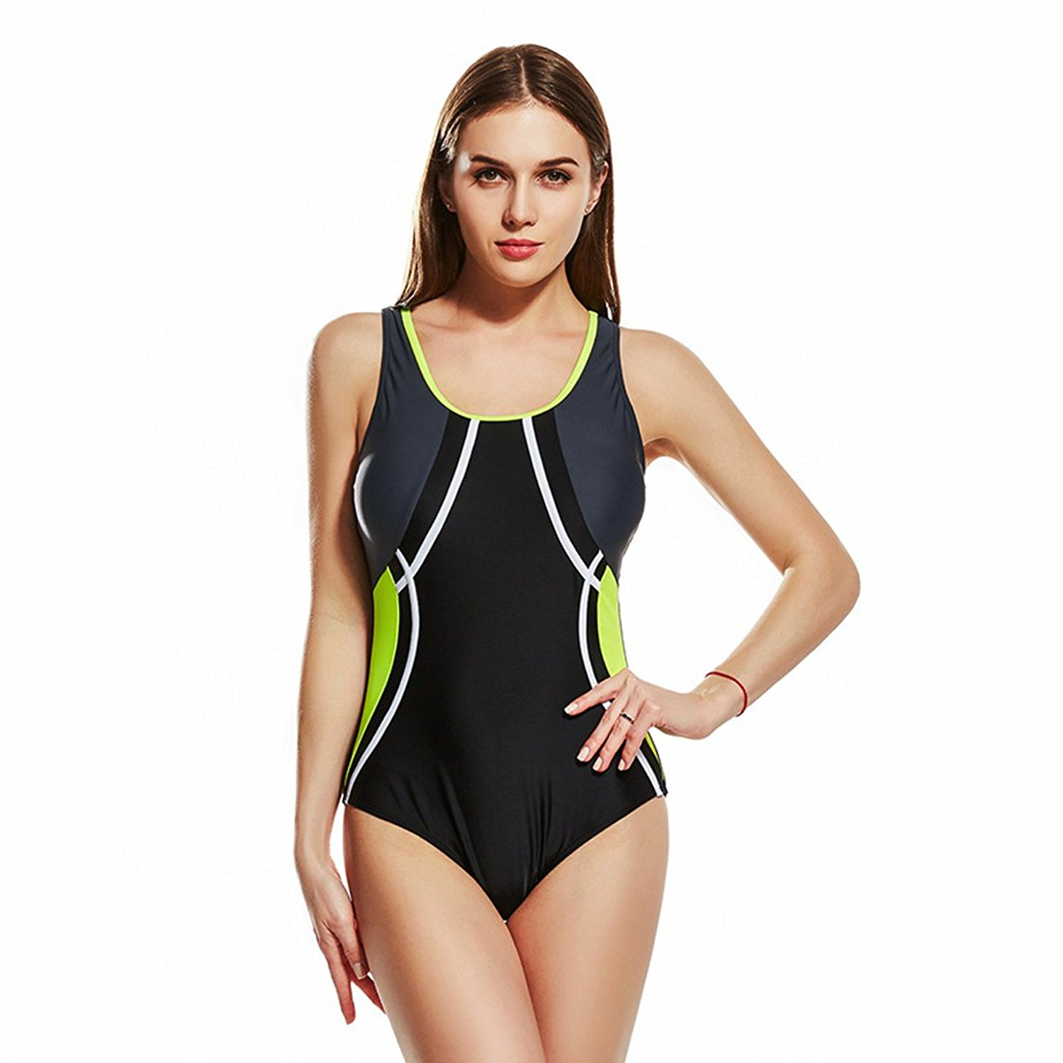 1f936aef72 Get Quotations · Yingniao Women s One Piece Bathing Suits Racing Training  Sports Swimwear Athletic Racerback Swimsuit