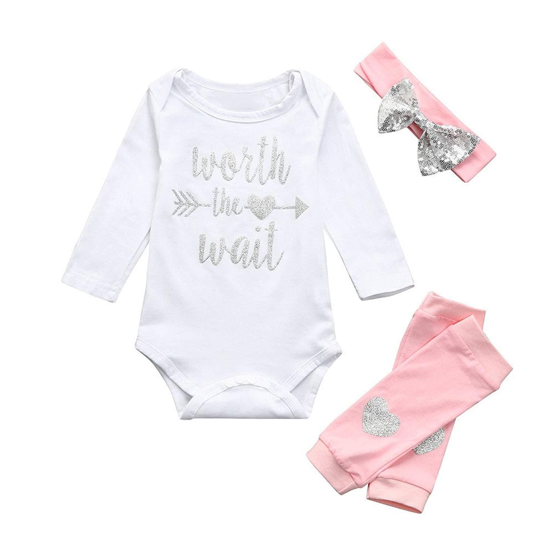 cc86fa5aa5b40 Get Quotations · Hatoys 3Pcs Outfits Set Newborn Infant Baby Girls Letter Romper  Jumpsuit Leggings Handband