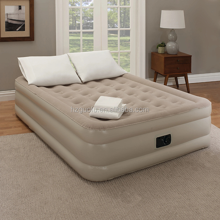 Customized Durable King Size Inflatable Flocking Raised  Air Bed Mattress Colchon with Built In Pump
