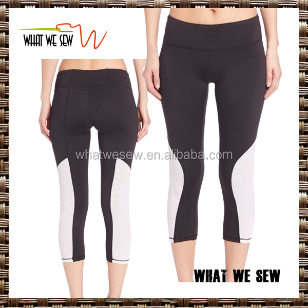 custom black/white yoga capris 3/4 compression tights jogger pants for women