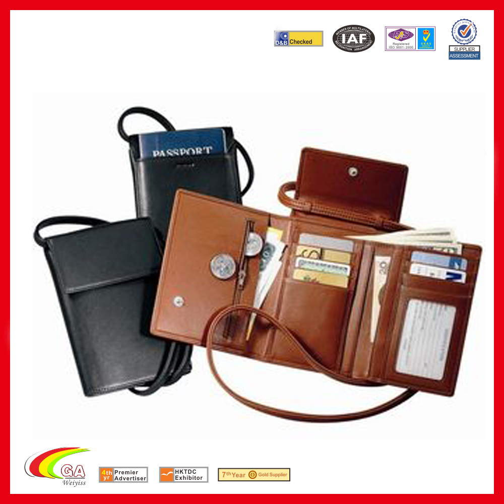 Factory Price High Quality Leather Cover Passport Ticket Holder With Credit Card Pocket