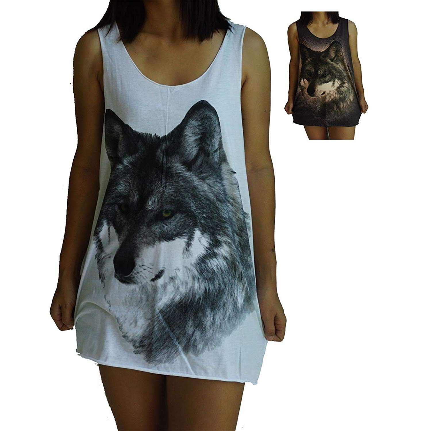 Unisex Wolf Vest Tank-Top Singlet Dress Sleeveless T-Shirt