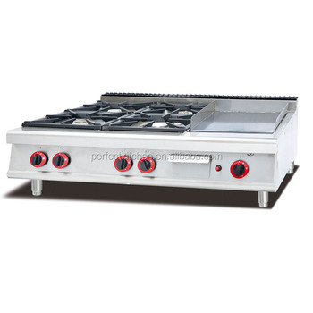 Commercial Table Top Gas Cooking Range With 4 Burners Griddle