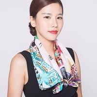 Digital Print Custom Square Silk Scarf And Shawl