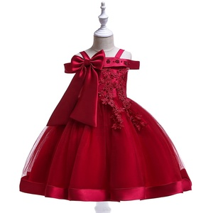 Girls' Pageant Princess Wine Upper Applique Birthday Party Dress Baby Dress 4-12Y