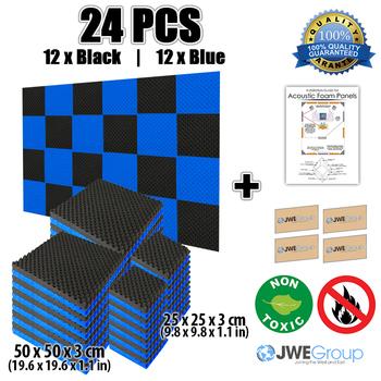 New 24pcs Black And Blue Bundle Egg Crate Convoluted Acoustic Panel Studio  Soundproof Foam 50x50x3cm 7 Colors Kk1052 - Buy Acoustic Panel,Sound