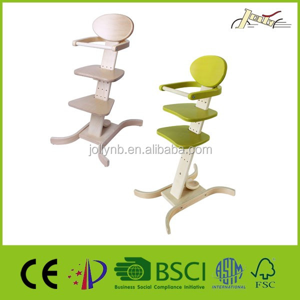 Adjustable Baby Wooden High Chairs / High Back Wooden Dining Chairs