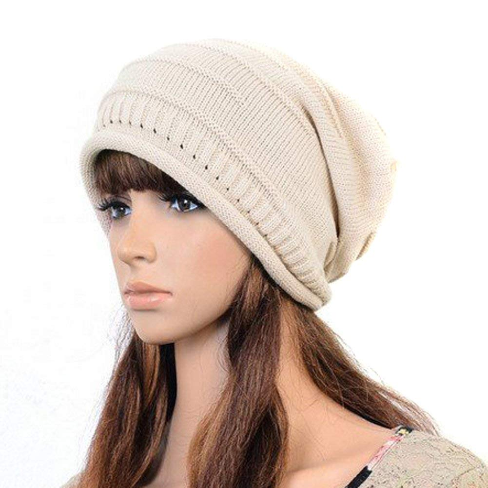 893166e7c09 Get Quotations · Sealike Knit Baggy Beanie Crochet Ski Hat Slouch Cap with  a Stylus