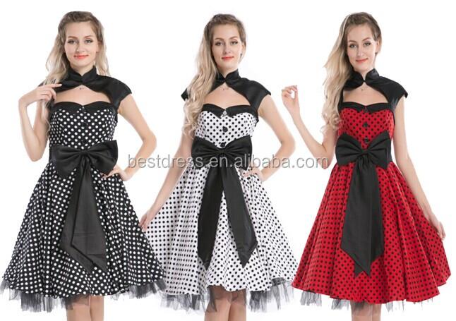 Ladies 1940s 50s Rockabilly Vintage Polka Dot  Womens Party Swing Audrey Dress