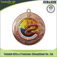 Custom made printed logo folk art metal award medal