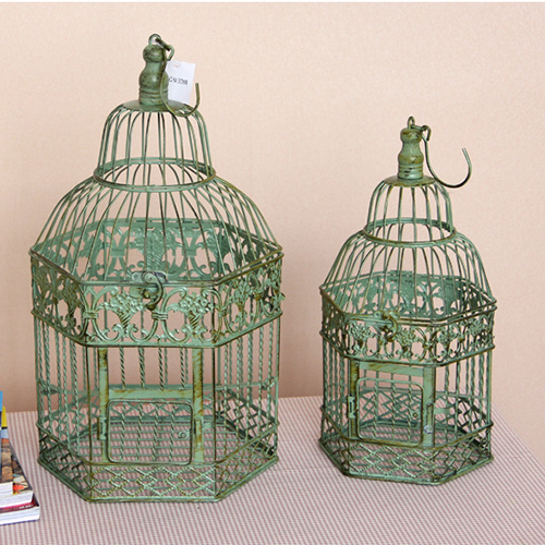 Birdcage Vintage Iron Antique White Home Decorative