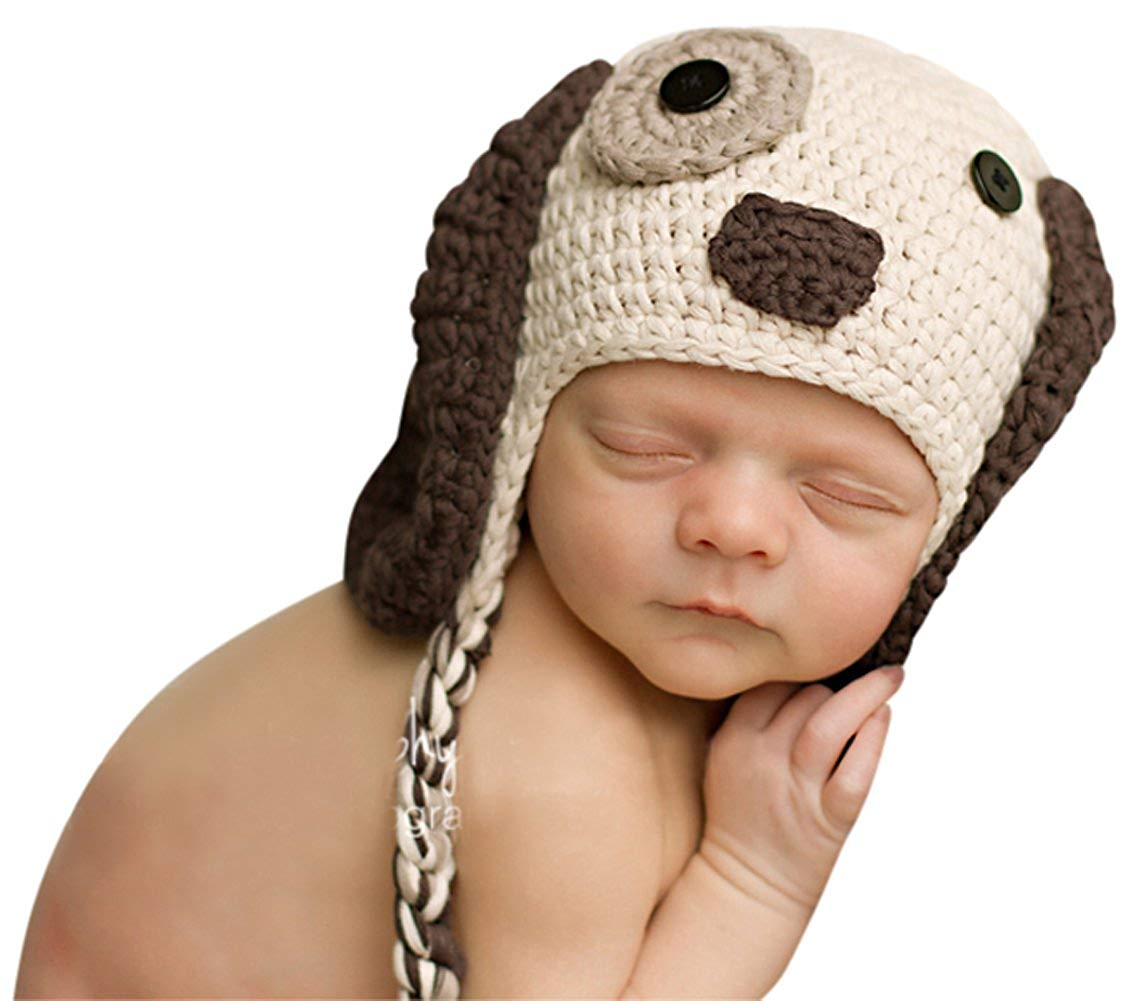 23592a6723b Melondipity Boys Little Puppy Dog Newborn Baby Hat - Crochet Animal Beanie ( newborn)