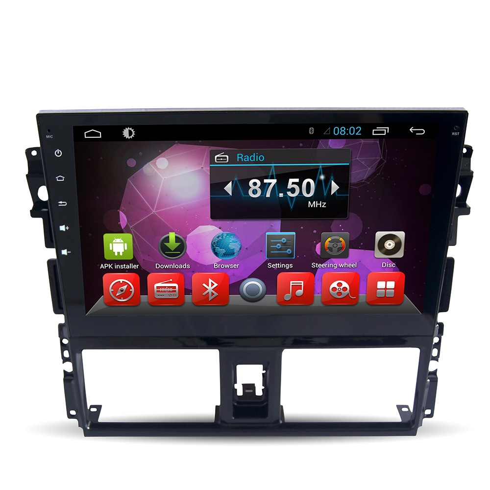 For 4-core Multi-touch android 4.4 Toyota New Vios Car radio GPS with Radio+BT+Ipod+USB +SWC+Mirror link+1080P MP4/MP5/RMVB/AVI