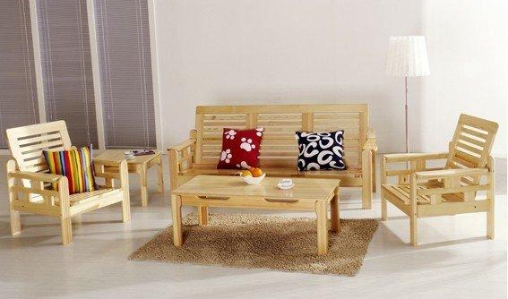 Solid Wood Pine Wood Sofa Set Living Room Furniture
