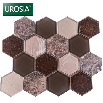 light emperador hexagon marble mosaic tile sheet high quality glass mix marble stone hexagonal shape mosaic tile