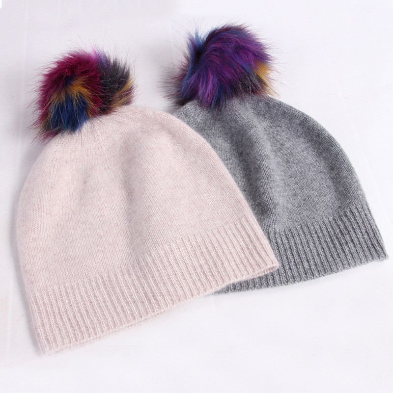 27cfd83c1b9 Imf Custom Womens Knit Pure Cashmere Pom Pom Winter Beanie Hats With ...