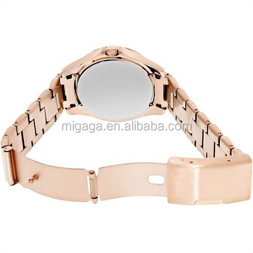 Rose gold stainless steel watch, PP stone watch for women