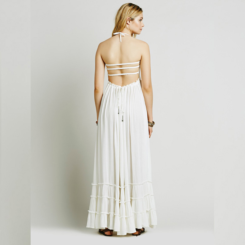 15a8b3b63ac Flowing Hippie Lady Clothes Latest White Backless Beach Dress - Buy ...