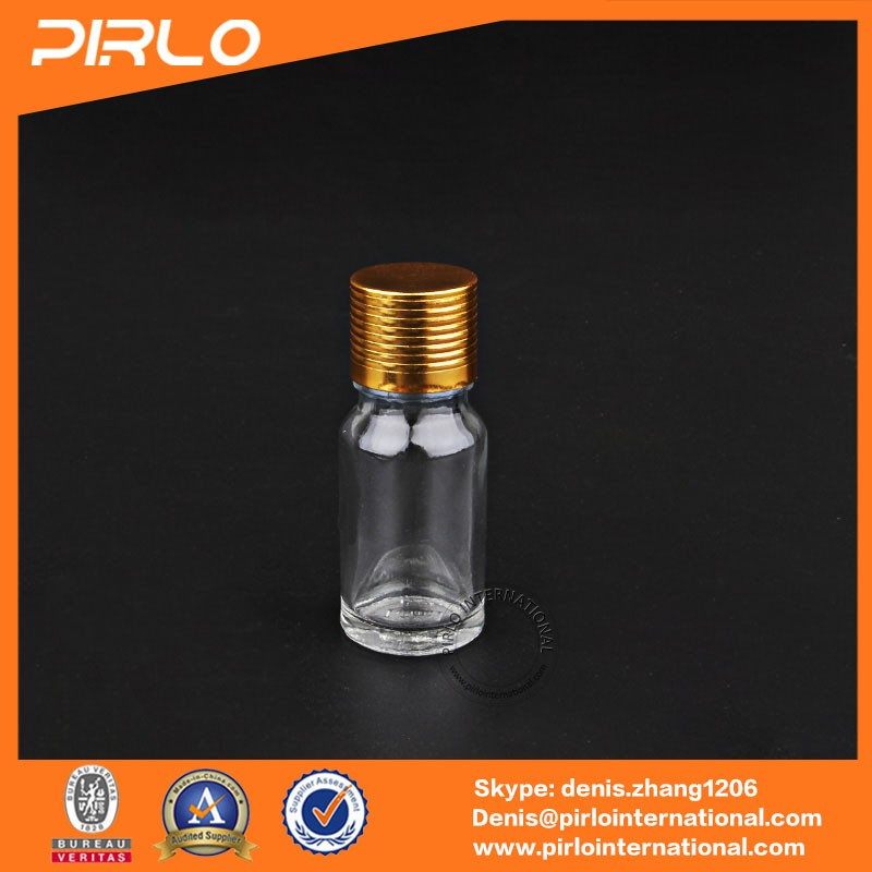 5ml clear glass perfume oil bottles essential oil glass bottles with gold cap 18/410 rose oil bottles