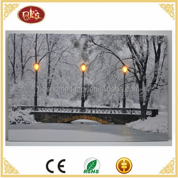 Home Wall Decor Picture snow scene led winter scene canvas led wall art